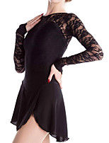 cheap -Figure Skating Dress Women's Girls' Ice Skating Dress Black Spandex High Elasticity Training Competition Skating Wear Handmade Patchwork Long Sleeve Ice Skating Figure Skating