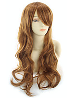 cheap -Synthetic Wig Curly Asymmetrical Wig Long Golden Brown / Ash Blonde Synthetic Hair 27 inch Women's Best Quality Black