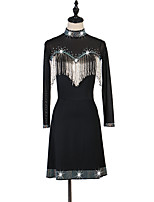 abordables -Danse latine Robes Femme Utilisation Spandex Gland / Cristaux / Stras Manches Longues Robe
