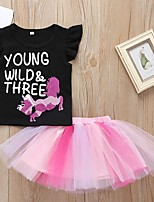 cheap -Baby Girls' Basic Color Block Short Sleeve Regular Clothing Set Black
