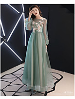 cheap -A-Line Boat Neck Floor Length Satin / Tulle Elegant Prom / Formal Evening / Wedding Guest Dress 2020 with Appliques