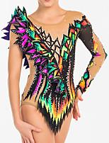 cheap -Rhythmic Gymnastics Leotards Artistic Gymnastics Leotards Women's Girls' Leotard Purple Spandex High Elasticity Handmade Jeweled Diamond Look Long Sleeve Competition Dance Rhythmic Gymnastics