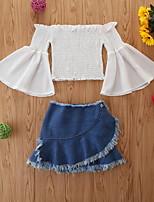 cheap -Toddler Girls' Basic Print Long Sleeve Short Regular Clothing Set White