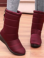cheap -Women's Boots Flat Heel Round Toe Synthetics Mid-Calf Boots Winter Black / Red