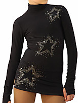 cheap -Figure Skating Dress Women's Girls' Ice Skating Dress Black Spandex High Elasticity Training Competition Skating Wear Handmade Patchwork Crystal / Rhinestone Long Sleeve Ice Skating Figure Skating
