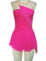 cheap -Figure Skating Dress Women's Girls' Ice Skating Dress Black Pink Spandex High Elasticity Training Competition Skating Wear Handmade Patchwork Crystal / Rhinestone Sleeveless Ice Skating Figure Skating