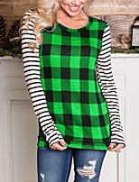cheap -Women's Going out Weekend Vintage / Elegant T-shirt - Color Block / Check Patchwork Purple