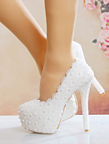 cheap -Women's Wedding Shoes Stiletto Heel Round Toe Imitation Pearl / Satin Flower Lace / PU Vintage / Minimalism Spring &  Fall / Spring & Summer White / Party & Evening