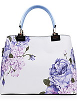 cheap -Women's Zipper PU Top Handle Bag Plants Black / Sky Blue / Blushing Pink