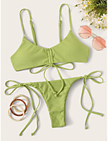 cheap -Women's Basic Light Green Halter Tie Side Tankini Swimwear - Solid Colored Backless Bow S M L Light Green