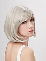 cheap -Synthetic Wig Curly Asymmetrical Wig Short Creamy-white Synthetic Hair 11 inch Women's Best Quality White
