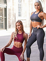 cheap -Women's Tracksuit Yoga Suit Solid Color Black Dark Grey Burgundy Yoga Fitness Gym Workout Tights Bra Top Sleeveless Sport Activewear Breathable Moisture Wicking Butt Lift Tummy Control High Elasticity
