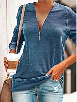 abordables -Tee-shirt Femme, Couleur Pleine Bleu