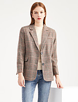 cheap -Women's Daily Basic Spring &  Fall Regular Trench Coat, Houndstooth Turndown Long Sleeve Polyester Red / Gray