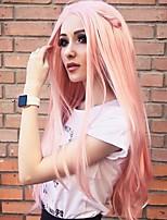 abordables -Perruque Lace Front Synthétique Droit Partie médiane Lace Frontale Perruque Long Rose Cheveux Synthétiques 18-26 pouce Femme Doux Ajustable Soirée Rose