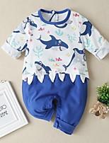 cheap -Baby Girls' Basic Print Long Sleeve Romper Blue