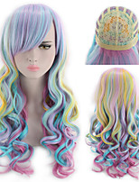 cheap -Synthetic Wig Curly kinky Straight Asymmetrical Wig Long Rainbow Synthetic Hair 27 inch Women's Best Quality Mixed Color