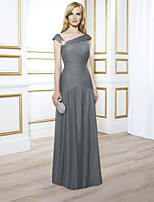cheap -A-Line V Neck Floor Length Chiffon Elegant Engagement / Formal Evening Dress 2020 with Crystals / Ruched / Pleats
