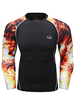 cheap -CODYLUNDIN Men's Round Neck Compression Shirt Running Shirt Running Base Layer Winter Patchwork 3D Print Black Red / black Black / Coffee Blue Black Green and Black Running Active Training Jogging Top