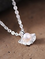 cheap -Women's Pearl Pendant Necklace Classic Classic Chrome Silver 45 cm Necklace Jewelry 1pc For Daily