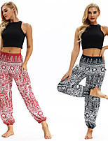 cheap -Women's Yoga Pants Harem Smocked Waist Print Black Yan pink Dance Fitness Gym Workout Bloomers Sport Activewear Lightweight Breathable Quick Dry Soft Stretchy Loose