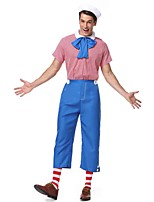 cheap -Clown Cosplay Costume Outfits Adults' Women's Cosplay Halloween Halloween Festival / Holiday Polyester Blue Women's Carnival Costumes / Bow / Top / Pants / Socks / Hat