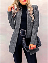 cheap -Women's Daily / Work Street chic Fall & Winter Regular Pea Coat, Solid Colored Shawl Lapel Long Sleeve Polyester Dark Gray / Gray / Light gray