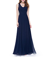 cheap -A-Line Plunging Neck Floor Length Polyester / Lace Sexy Prom / Formal Evening Dress 2020 with Ruched