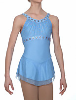 cheap -Figure Skating Dress Women's Girls' Ice Skating Dress Sky Blue Spandex High Elasticity Training Competition Skating Wear Handmade Patchwork Crystal / Rhinestone Sleeveless Ice Skating Figure Skating