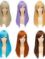 cheap -Synthetic Wig Straight kinky Straight Asymmetrical Wig Long Light Blonde Brown Blonde Blue Purple Synthetic Hair 23 inch Women's Best Quality Blonde Brown