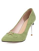 cheap -Women's Heels Stiletto Heel Square Toe Rhinestone Microfiber Classic Spring &  Fall Black / Almond / Green / Wedding / Party & Evening