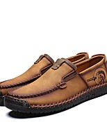 cheap -Men's Comfort Shoes Cowhide Fall Loafers & Slip-Ons Black / Brown / Khaki