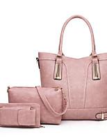 cheap -Women's Zipper PU Bag Set Solid Color 3 Pcs Purse Set Black / Brown / Wine