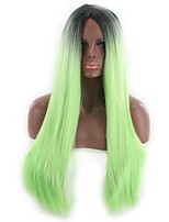 cheap -Synthetic Wig Curly Asymmetrical Wig Long Ombre Green Synthetic Hair 27 inch Women's Best Quality Black Green