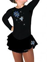 abordables -Robe de Patinage Artistique Femme Fille Patinage Robes Noir Spandex Haute élasticité Entraînement Compétition Tenue de Patinage Fait à la main Mosaïque Cristal / Stras Manches Longues Patinage sur