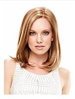 abordables -Perruque Synthétique Droit crépu Coupe Asymétrique Perruque Longueur moyenne Blond Cheveux Synthétiques 15 pouce Femme Meilleure qualité Blond