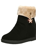 cheap -Women's Boots Hidden Heel Round Toe PU Mid-Calf Boots Fall & Winter Black / Beige