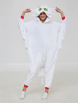 cheap -Adults' Kigurumi Pajamas Toothless Onesie Pajamas Flannel White Cosplay For Men and Women Animal Sleepwear Cartoon Festival / Holiday Costumes / Leotard / Onesie