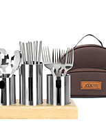 cheap -Camp Kitchen Utensil Organizer Travel Set Set Portable Wearable Durable for 4 person Stainless Steel Outdoor Camping / Hiking Traveling Picnic Brown