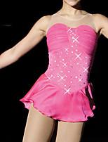abordables -Robe de Patinage Artistique Femme Fille Patinage Robes Rose Spandex Haute élasticité Entraînement Compétition Tenue de Patinage Fait à la main Mosaïque Cristal / Stras Sans Manches Patinage sur glace