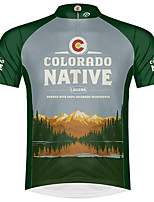 cheap -21Grams Men's Short Sleeve Cycling Jersey 100% Polyester Green Bike Jersey Top Mountain Bike MTB Road Bike Cycling UV Resistant Breathable Quick Dry Sports Clothing Apparel / Stretchy / Race Fit
