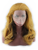 cheap -Synthetic Wig Curly Asymmetrical Wig Long Light golden Synthetic Hair 27 inch Women's Best Quality Blonde