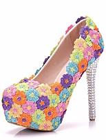 cheap -Women's Wedding Shoes Stiletto Heel Round Toe Rhinestone / Satin Flower / Sparkling Glitter Lace / PU Sweet / Minimalism Spring &  Fall / Spring & Summer Rainbow / Party & Evening