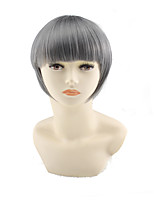 cheap -Synthetic Wig kinky Straight Asymmetrical Wig Short Grey Synthetic Hair 4 inch Women's Best Quality Gray