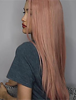 cheap -Synthetic Wig Straight kinky Straight Asymmetrical Wig Long Pink Synthetic Hair 27 inch Women's Best Quality Pink