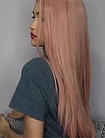 abordables -Perruque Synthétique Droit Droit crépu Coupe Asymétrique Perruque Long Rose Cheveux Synthétiques 27 pouce Femme Meilleure qualité Rose
