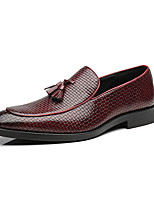 cheap -Men's Leather Shoes Leather Spring & Summer / Fall & Winter Business / Casual Loafers & Slip-Ons Breathable Black / Yellow / Red / Tassel