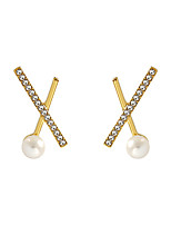 cheap -Women's Stud Earrings Earrings Classic Cross Simple Trendy Korean Fashion Elegant Imitation Pearl Imitation Diamond Earrings Jewelry Golden For Gift Daily Holiday Work 1 Pair