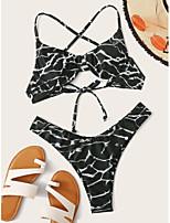cheap -Women's Basic Black Halter Cheeky Tankini Swimwear - Color Block Abstract Backless Bow S M L Black