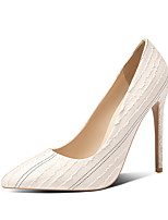 cheap -Women's Heels Stiletto Heel Pointed Toe Microfiber Classic / Minimalism Spring &  Fall Black / Almond / Beige / Wedding / Party & Evening